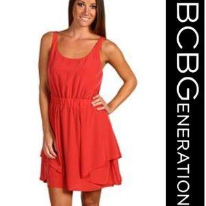 BCBGeneration burnt coral red orange mini dress XS